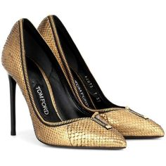Tom Ford Zip Snakeskin Pumps ($1,285) ❤ liked on Polyvore featuring shoes, pumps, gold, tom ford, zipper pumps, snakeskin shoes, snake skin pumps and zip shoes