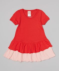 Look at this Red Tiered Ruffle Organic Pirouette Dress - Toddler & Girls on #zulily today! #zulilybday