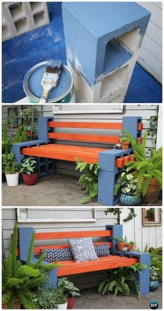 DIY Cinder Block Bench Home Design Garden . DIY Garden Benches And Tables Made With Cinder Blocks. Original Cinder Block Ideas For DIY Yard Decorations. Home and Family Cinder Block Furniture, Cinder Block Bench, Cinder Block Garden, Cinder Block Ideas, Cinder Blocks, Diy Patio, Backyard Patio, Backyard Landscaping, Diy Garden Furniture