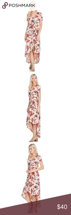 Blush Floral Dress High low floral print dress. Model is 5'4 and wearing size Small. Dresses High Low