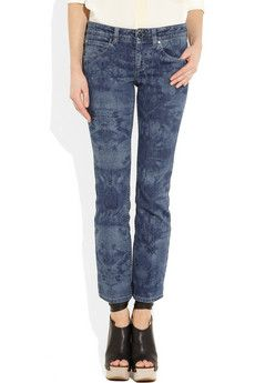 Stella McCartney Hawaiian-print cropped mid-rise flared jeans.