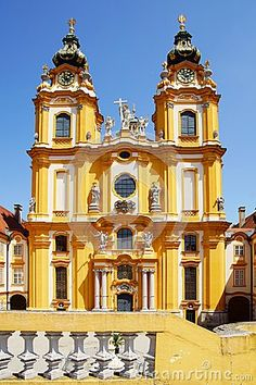 The Church in Melk Abbey. Melk Abbey is a Benedictine Abbey in Austria, and among the world's most famous monastic sites. It is located above the town of Melk on a rocky outcrop overlooking the Danube river in Lower Austria, adjoining the Wachau valley. (V)