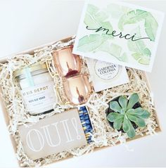 Shop Box Gifts, BOXFOX, Care Package, Welcome Box, Rose Gold Mugs, Succulents, Stationary, See more at loveluxelife.com #loveluxelife