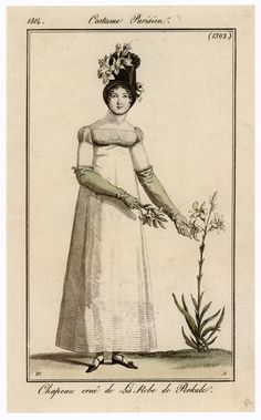 19th Century (Directoire/Empire Period): Round gown, long gloves, slippers