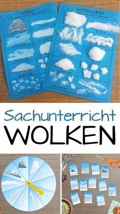 Wolken Sachunterricht - NaWi - Material collection - Teaching material in the subjects Sachunterricht - Material collection for the subject teaching in the elementary school on the topic of clouds. Kid Science, Elementary Science, Science Education, Elementary Education, Kids Education, Primary Education, Science Fiction, Montessori Materials, Montessori Activities