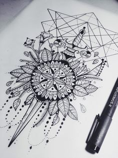 Death before dishonor Sword Mandala Geometric Tattoo Design (Unknown Artist) <3