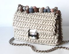 Beige structured shape bag   Beige shoulder chain bag   Structured shape cross body bag     Metal rings fabulous bag   luxury bag