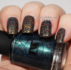 he base is Masura 1028 I See You Love Me stamped with El Corazon stm 32 Copper Flame, plate Dashica Nails 020, stamper Fab Ur Nails Jumbo Stamper.