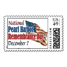 Pearl Harbor Day Stamp Artwork designed by Best_Military_Gear. Made by Zazzle Stamps in San Jose, CA.  #madeinusa