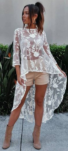 #summer #outfits White Lace Oversized Top + Beige Short