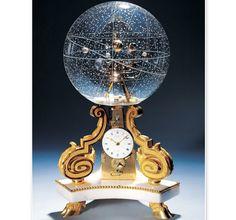 Table clock w/ planetarium & stars engraved on a glass globe, Paris, 1770