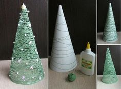 weihnachtsdeko selber basteln tannenbaum papier trichter schnur gruen - List of the most creative DIY and Crafts Cute Christmas Decorations, Diy Christmas Tree, Christmas Projects, All Things Christmas, Simple Christmas, Tree Decorations, Christmas Holidays, Christmas Ornaments, Winter Decorations