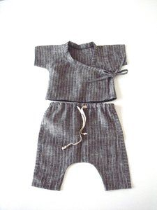 Baby Grey Stripe linen Kimono Style top and harem pants