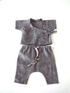 Baby Grey Stripe linen Kimono Style top and harem pants