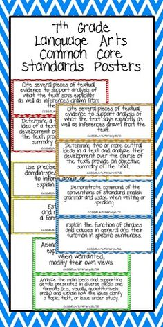 7th Grade Language Arts Common Core Standards Posters.  Did these on my own and rephrased them in student-friendly language for 6th and 7th language arts and math CC standards.