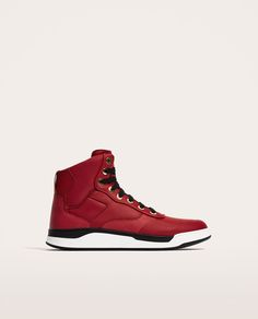 RED HIGH TOP SNEAKERS-View all-SHOES-MAN | ZARA United States