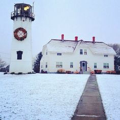 The Cape might be best known for its summer scenery but we think a light snowfall suits Chatham Light pretty well, too. Many thanks to @ kerrycapecod on Instagram for the photo.