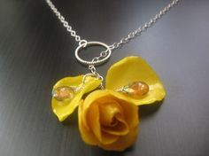 Etsy RoyalPrincess Romantic Yellow Rose Bud Necklace Chain made of real rose preserved for life Real flower Jewelry - Stylehive