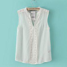 Women white lace chiffon blouse V neck sweet sleeveless Crochet Lace shirt casual Blusas Femininas European Roupa Female White Chiffon Blouse, Chiffon Tops, Lace Chiffon, Sheer Blouse, Long Blouse, Shirts & Tops, Shirt Blouses, Tank Tops, Top Chic