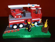 TOPPER CAMION LEGO VIGILI DEL FUOCO - compleanno Joele - Cake by gina Mengarelli