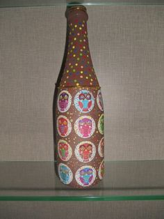 Garrafa decorativa tema coruja Decorative owl theme bottle