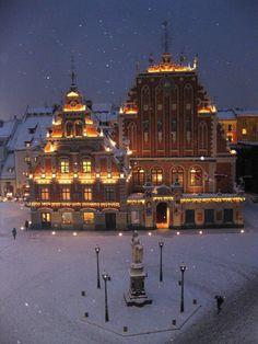 "Riga,Latvia ""House of Blackheads...in the snow. So beautiful."""