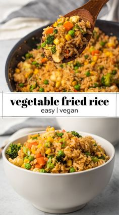 Vegetable-loaded fried rice made with tasty ingredients like miso paste and sesame seeds. This recipe is totally egg-free and vegan. Vegetarian Rice Recipes, Easy Rice Recipes, Vegetable Soup Recipes, Best Vegan Recipes, Snacks Recipes, Vegetarian Cooking, Vegan Food, Vegetable Fried Rice, Easy Vegan Dinner
