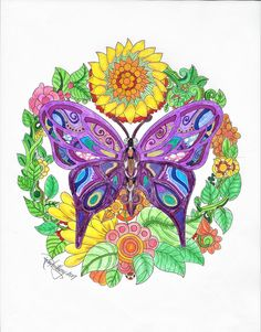 ColorIt Free Coloring Pages Colorist: Rose Anthony #adultcoloring #coloringforadults #adultcoloringpages #freebiefriday #butterfly