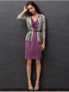 I have this sweater, and I really like the layered ruffled look here. Must try. (Banana Republic)