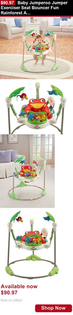 Baby jumping exercisers: Baby Jumperoo Jumper Exerciser Seat Bouncer Fun Rainforest Animals Girls Boys BUY IT NOW ONLY: $90.97