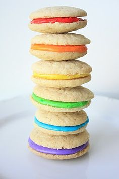 "Rainbow cookie sandwiches. ""I was a Boy Scout. AND a Girl Scout -- until some kid got scared..."" #Rent"