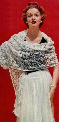 Vintage shawl with graph pattern Hairpin Lace crochet