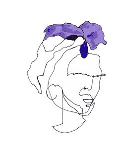 Frida Kahlo Blind Contour Line Drawing Ink and Watercolor  Artist - February James