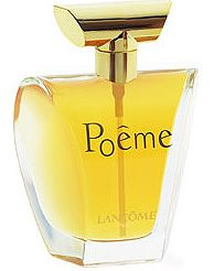 Poeme Lancome, 1995, Classic floral oriental fragrance...Poeme does not follow classic structure of top, middle and base notes. The notes of the composition appear/echo alternately...features intoxicating Himalayan blue poppy, white and yellow flowers (mimosa, rose, freesia...) and vanilla flower...the contrasts of bitter and sweet create a special sensual aura.