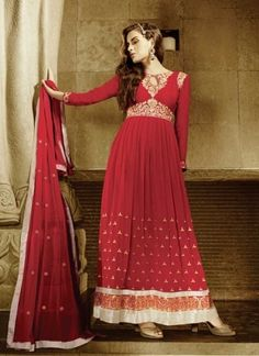 Majesty Red Heavy Georgette Embroidery Work Long Anarkali Suit