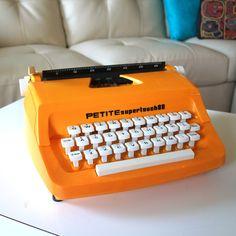 Typewriter Vintage Mustard Yellow Manual 1960s Type Writer Made in England Super Touch 80