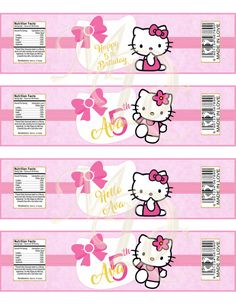 ♥ Welcome to Mary's Digital Creations! ♥ Hello Kitty Water Bottle Labels.Hello Kitty.Bottle Wrappers.Bottle Labels.DIY.Hello Kitty Party.Personalized Labels.Girls Birthday. Amaze your guests with these Adorable Hello Kitty Water Bottle Labels. This Hello Kitty Party Printable measures 8.5 x 2.2 Approx. (after trimmed) Fits small water bottles (approx. 500ml/16.9oz size) Please measure the circumference of the bottle before purchasing as not all 500ml/16.9oz. bottles have the same ...