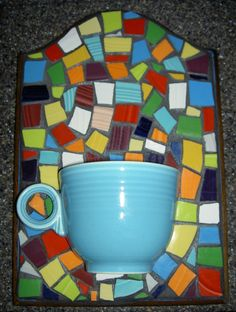 Fiestaware Mosaic Plaque with Cup Planter by rosepetalcottage, $55.00