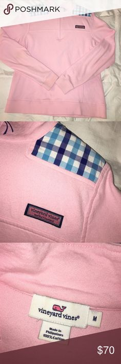 Vineyard Vines Shep Shirt Vineyard Vines classic Shep Shirt. Light pink with blue gingham shoulders. In great condition!!! Lightly worn! Vineyard Vines Tops Sweatshirts & Hoodies
