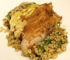 Roast chicken, Israeli couscous with roast cabbage