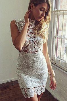 Cheap Fashion Turtleneck Tank Sleeveless Hollow-out White Lace Sheath Mini Dress