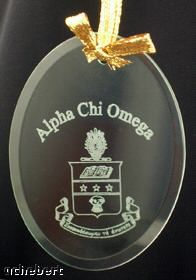 Alpha Chi Omega Crest/Symbol Beveled Crystal Ornament available in Good Things From Louisiana, an ebay store.