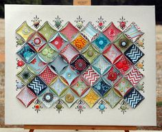 """Basic Grey Display Sampler Canvas - Size is 16"""" x 20""""        materials: basic grey products - pb pattern papers, stitched brads, assorted buttons, paper rosettes, metal flowers,felt flowers.    http://thepaintbrushgoesspottie.blogspot.com/2012/04/basic-grey-share.html"""