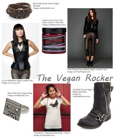 The Veggie Scene blog's article highlighting vegan clothes and accessories in the Rock 'N Roll style.