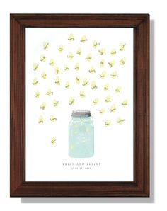 Mason jar with thumbprint fireflies Guest book by event123 on Etsy