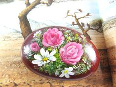 Handpainted Roses And Lilies Art Rock by DeRocs on Etsy