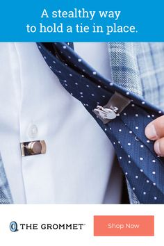 A modern approach to the tie stay, with a magnetic bar and clip-on keeper loop that keeps your tie attached to your shirt. Clips on in under 10 seconds, stays on when you need it, and off when you don't. Great Gifts For Dad, Gifts For Father, Gifts For Him, Shirt Clips, Man Rules, 10 Seconds, Your Boyfriend, Craft Gifts, Tie Clip