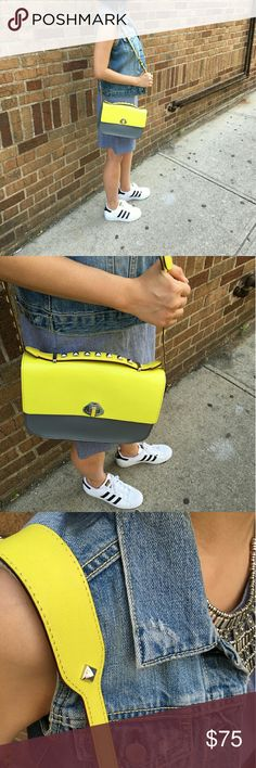 """Rebecca minkoff blake crossbody leather bag Style: blake. Color: yellow. Original dust bag & authentic card included. 10""""Lx7.5""""Hx2.25""""D. Handle strap w/ studs detailing w/ 2""""drop. Adjustable cross body strap w/ stud decorative design w: 16""""-21"""" drop. EXTERIOR: Rear REBECCA MINKOFF plaque. Silver toned hardware. Stud detailing around the clutch. Flap turn signature lock closure.  Condition: Worn few times. It has some minor scuffs on the strap but it's not visible fr outside because you wear…"""
