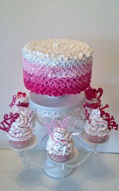 Hot Pink Ombre Fake Ruffle Cake, Photo Props, Shop Displays, House Staging #FakeCupcakeCreations