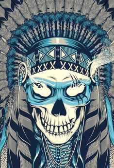 skull headdress native american indian illustration